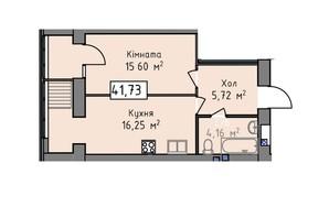 ЖК Статус 1: планировка 1-комнатной квартиры 41.73 м²