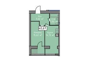 ЖК Статус 1: планировка 1-комнатной квартиры 40.67 м²