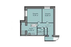 ЖК Статус 1: планировка 2-комнатной квартиры 63.47 м²