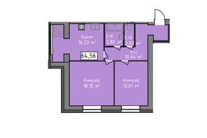 ЖК Статус 1: планировка 2-комнатной квартиры 64.56 м²