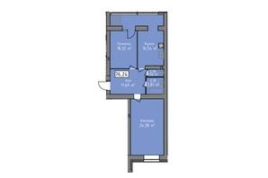 ЖК Статус 1: планировка 2-комнатной квартиры 76.24 м²