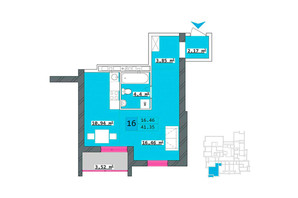 ЖК Столичний: планування 1-кімнатної квартири 41.35 м²