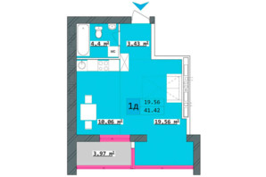 ЖК Столичний: планування 1-кімнатної квартири 38.48 м²