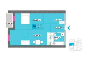 ЖК Столичний: планування 1-кімнатної квартири 58.73 м²