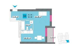 ЖК Столичный: планировка 1-комнатной квартиры 38.48 м²
