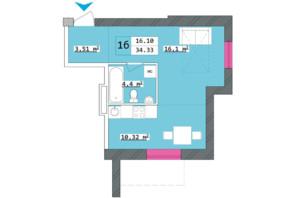 ЖК Столичный: планировка 1-комнатной квартиры 34.33 м²