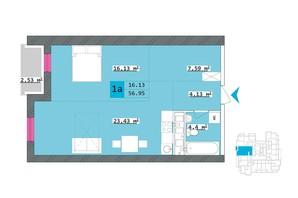 ЖК Столичный: планировка 1-комнатной квартиры 56.95 м²