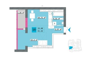 ЖК Столичный: планировка 1-комнатной квартиры 41.26 м²