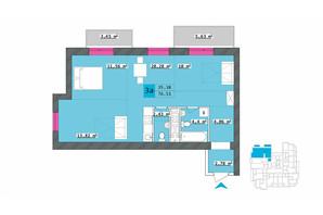 ЖК Столичный: планировка 3-комнатной квартиры 76.51 м²