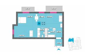 ЖК Столичный: планировка 3-комнатной квартиры 78.18 м²