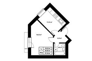 ЖК Столичный: планировка 1-комнатной квартиры 37.34 м²