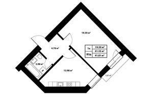 ЖК Столичный: планировка 1-комнатной квартиры 41.81 м²