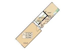 ЖК Столичный: планировка 1-комнатной квартиры 32.9 м²