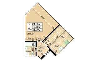 ЖК Столичный: планировка 1-комнатной квартиры 41.5 м²