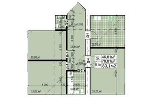 ЖК Столичный: планировка 3-комнатной квартиры 80.6 м²