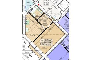 ЖК Столичный: планировка 1-комнатной квартиры 43.2 м²