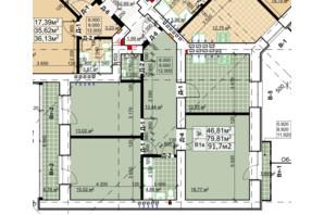 ЖК Столичний: планування 3-кімнатної квартири 91.7 м²