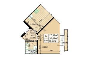 ЖК Столичный: планировка 1-комнатной квартиры 38.7 м²