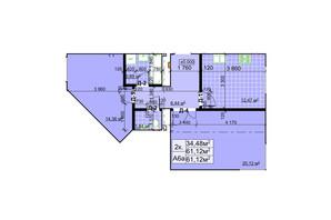 ЖК Столичний: планування 2-кімнатної квартири 61.12 м²