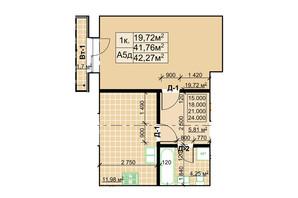 ЖК Столичный: планировка 1-комнатной квартиры 42.27 м²