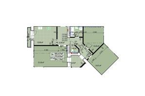ЖК Столичный: планировка 3-комнатной квартиры 84.13 м²