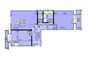 ЖК Столичный: планировка 2-комнатной квартиры 63.41 м²