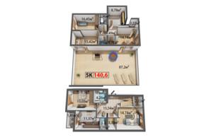 ЖК Стожари: планування 5-кімнатної квартири 140.6 м²