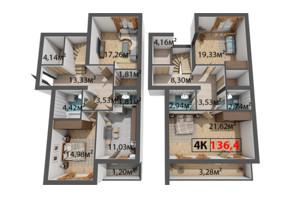 ЖК Стожари: планування 4-кімнатної квартири 136.4 м²