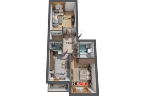 ЖК Стожари: планування 2-кімнатної квартири 58.8 м²