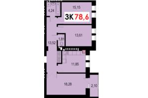 ЖК Стожари: планування 3-кімнатної квартири 78.6 м²