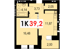 ЖК Стожари: планування 1-кімнатної квартири 39.2 м²