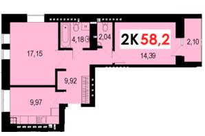 ЖК Стожари: планування 2-кімнатної квартири 58.2 м²