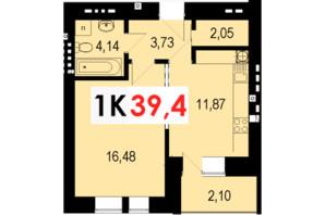ЖК Стожари: планування 1-кімнатної квартири 39.4 м²