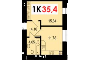 ЖК Стожари: планування 1-кімнатної квартири 35.4 м²