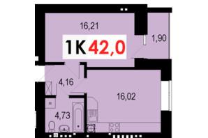 ЖК Стожари: планування 1-кімнатної квартири 42 м²
