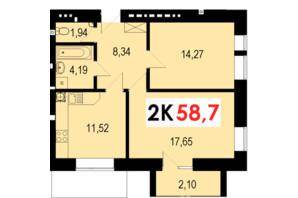 ЖК Стожари: планування 2-кімнатної квартири 58.7 м²