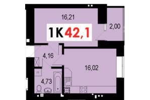ЖК Стожари: планування 1-кімнатної квартири 42.1 м²