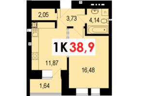 ЖК Стожари: планування 1-кімнатної квартири 38.9 м²