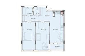 ЖК Стожары: планировка 2-комнатной квартиры 67.57 м²