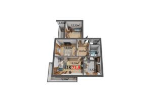 ЖК Стожары: планировка 3-комнатной квартиры 73.9 м²