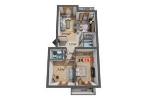 ЖК Стожары: планировка 3-комнатной квартиры 79.4 м²