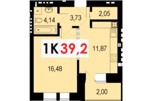 ЖК Стожары: планировка 1-комнатной квартиры 39.2 м²