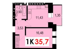 ЖК Стожары: планировка 1-комнатной квартиры 35.7 м²