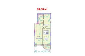 ЖК Стретенский: планировка 1-комнатной квартиры 69 м²