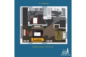 ЖК Strim Towers вторая очередь: планировка 1-комнатной квартиры 49.83 м²