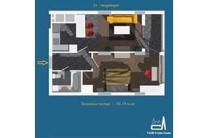 ЖК Strim Towers вторая очередь: планировка 1-комнатной квартиры 50.1 м²