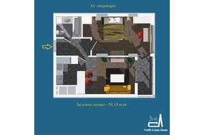 ЖК Strim Towers вторая очередь: планировка 1-комнатной квартиры 50.18 м²