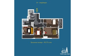 ЖК Strim Towers вторая очередь: планировка 3-комнатной квартиры 93.55 м²