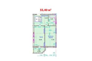 ЖК Стрітенський: планування 1-кімнатної квартири 55.4 м²
