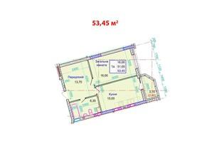 ЖК Стрітенський: планування 1-кімнатної квартири 53.45 м²